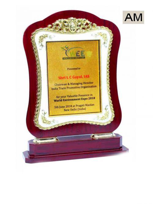 golden frame wooden stand trophy