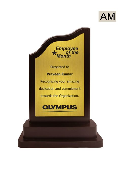 golden plate wooden stand trophy