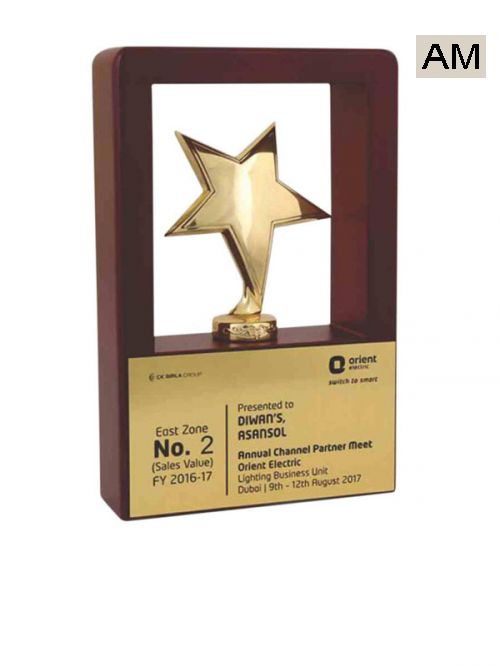 star with plate wooden trophy