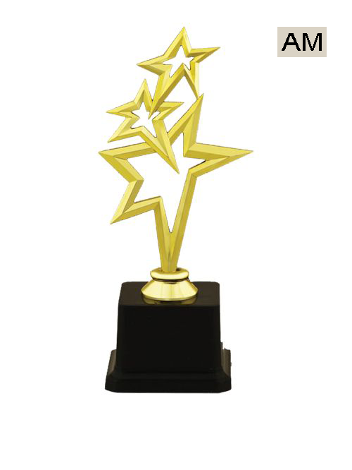 three star plastic trophy